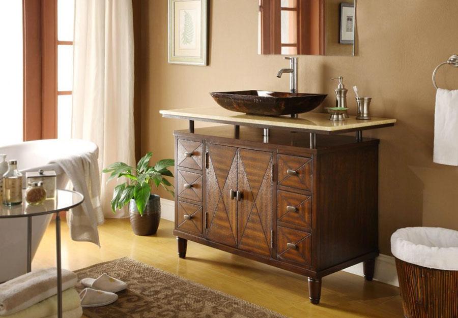 Idee bagno marrone classico 03