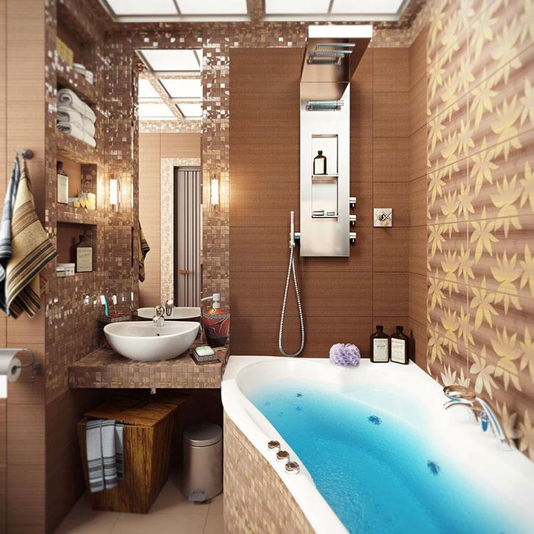 Idee bagno marrone moderno 04