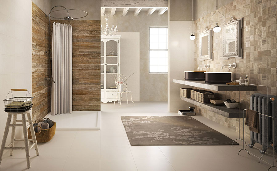 Idee per bagno con pareti marroni 04