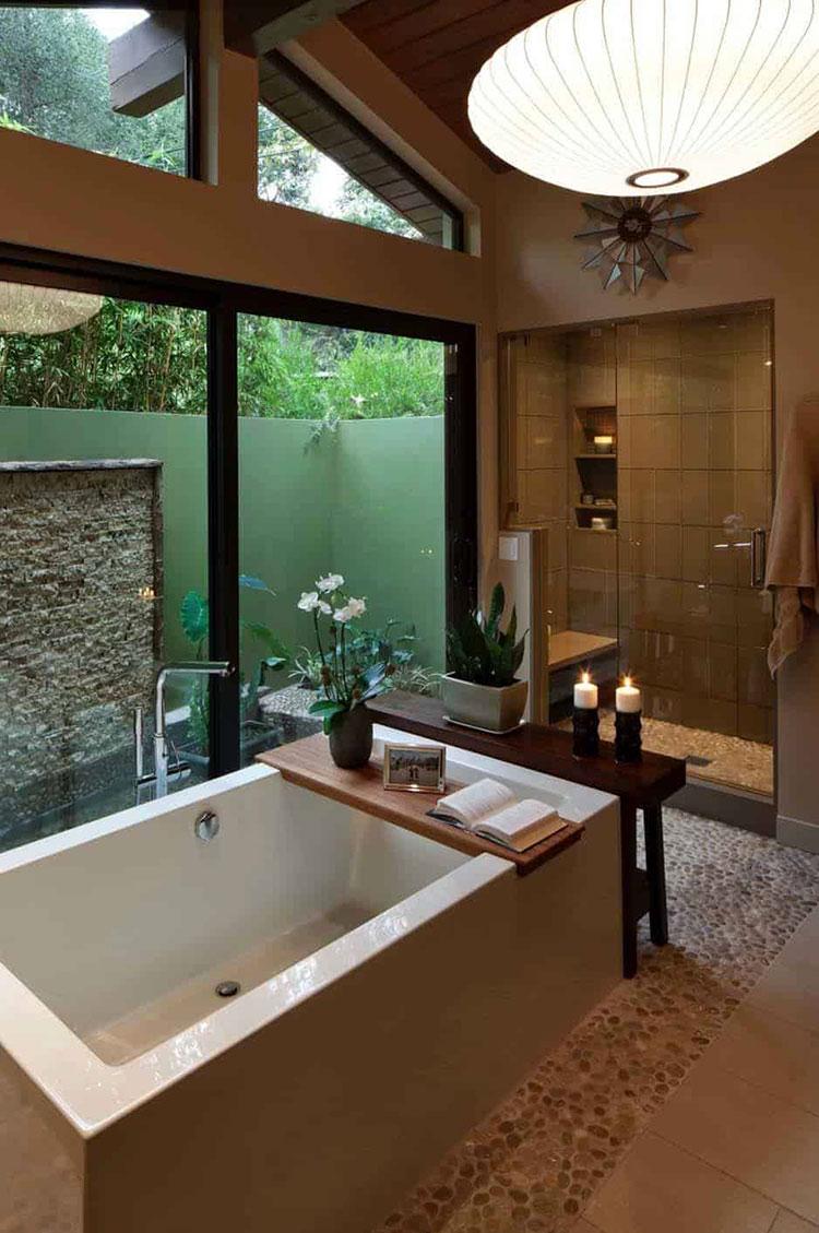 Idee per bagno con pareti marroni 05