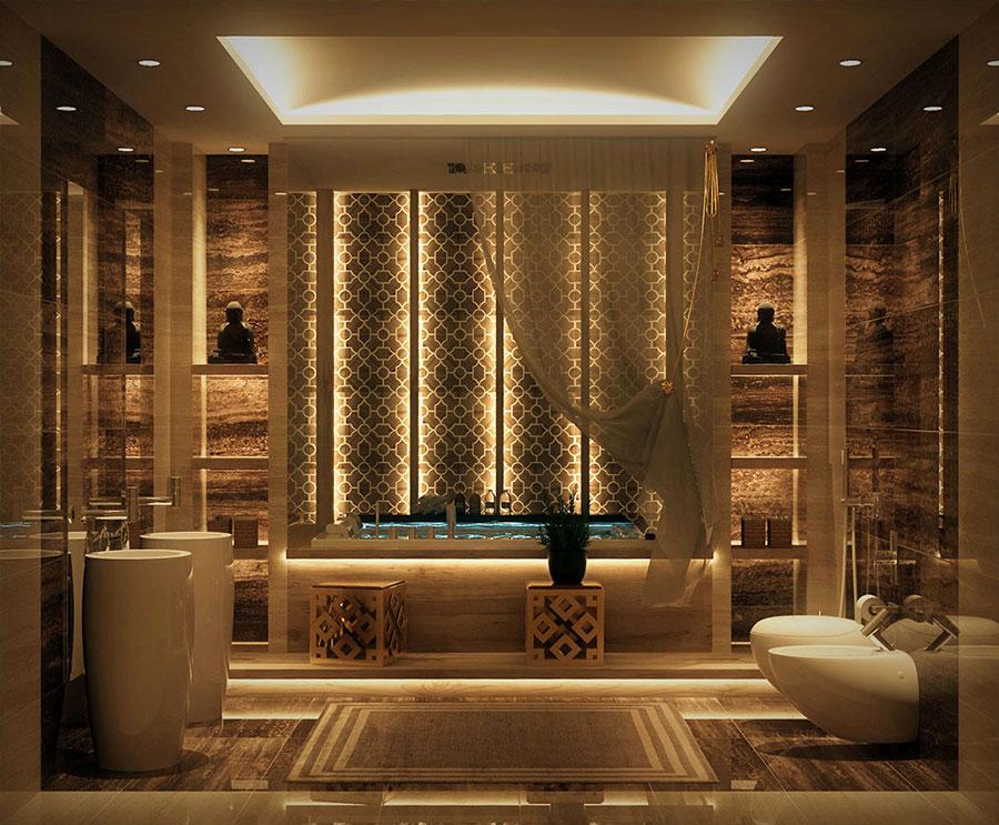 Idee per bagno con pareti marroni 08