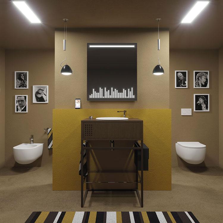Idee per bagno con pareti marroni 09