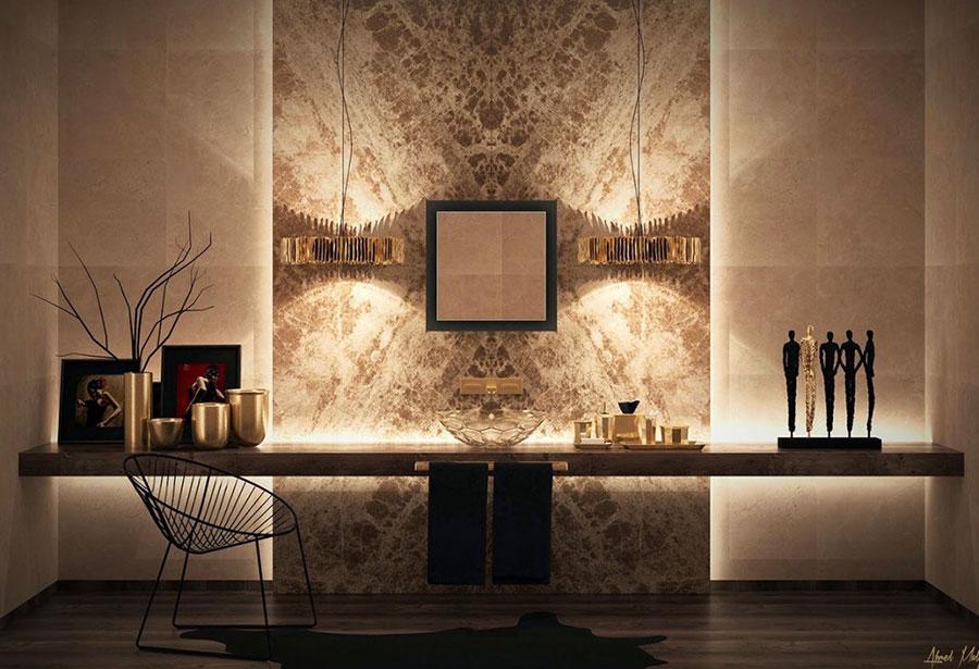 Idee per bagno con pareti marroni 10