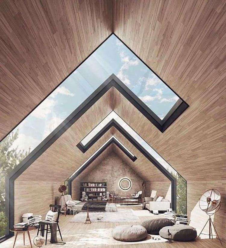 Idee per arredare una mansarda in legno moderna n.04
