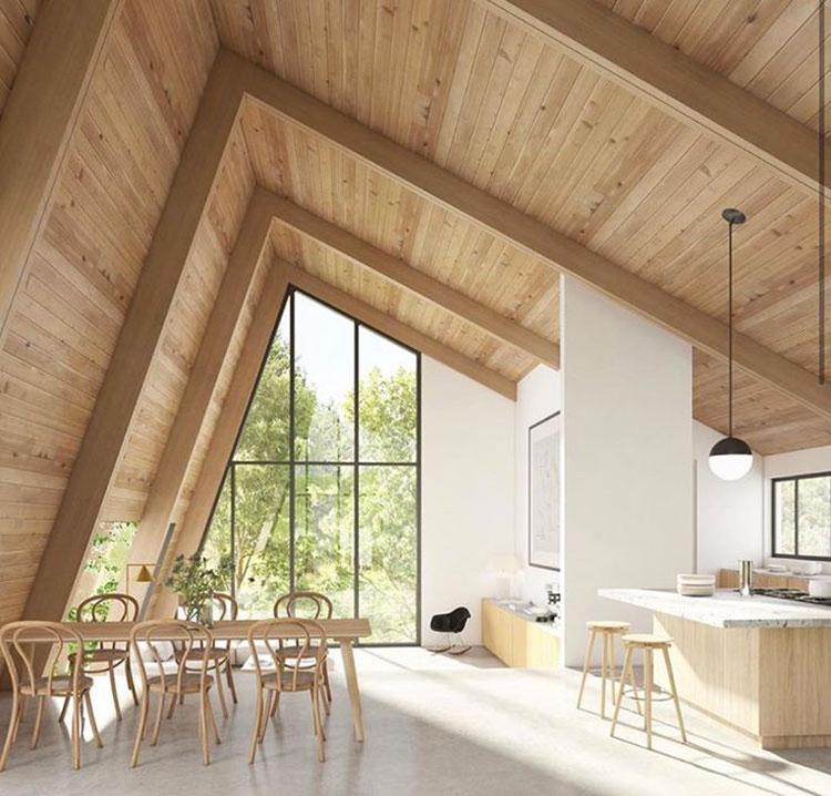 Idee per arredare una mansarda in legno moderna n.10