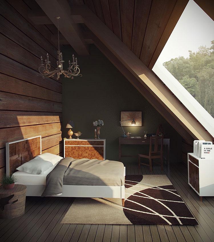 Idee per arredare una mansarda in legno moderna n.12
