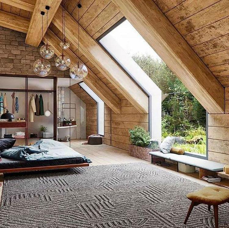 Idee per arredare una mansarda in legno moderna n.13