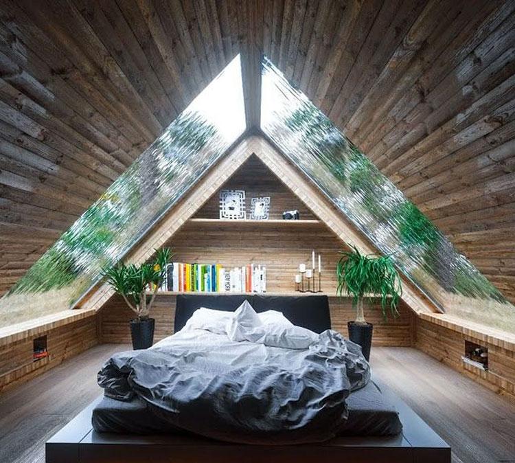 Idee per arredare una mansarda in legno moderna n.16