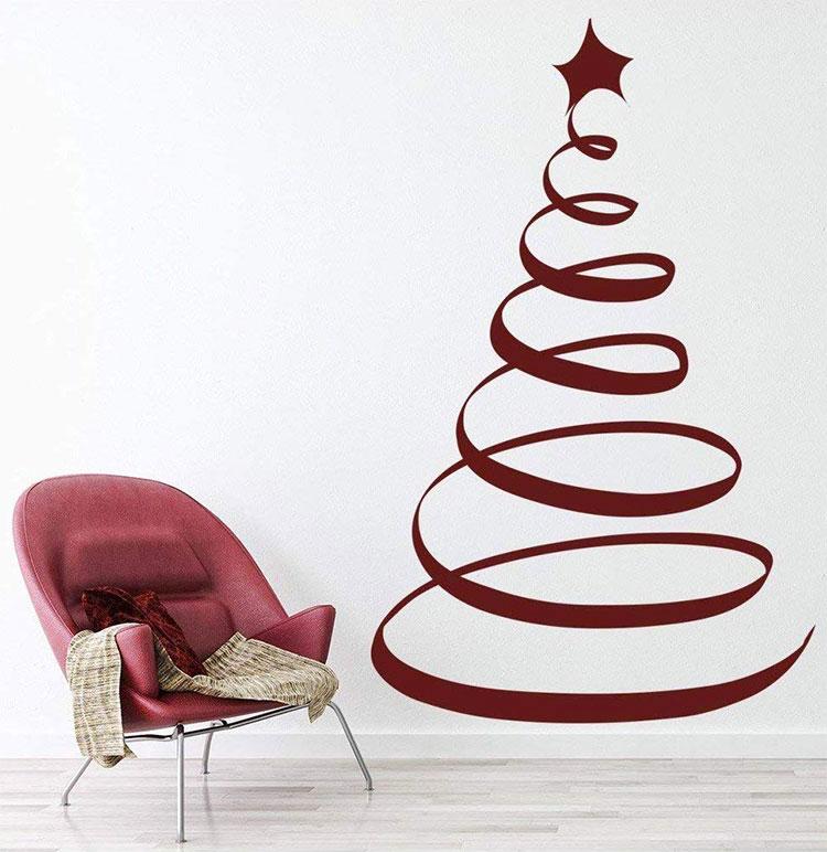 Modello di albero di Natale moderno adesivo n.01