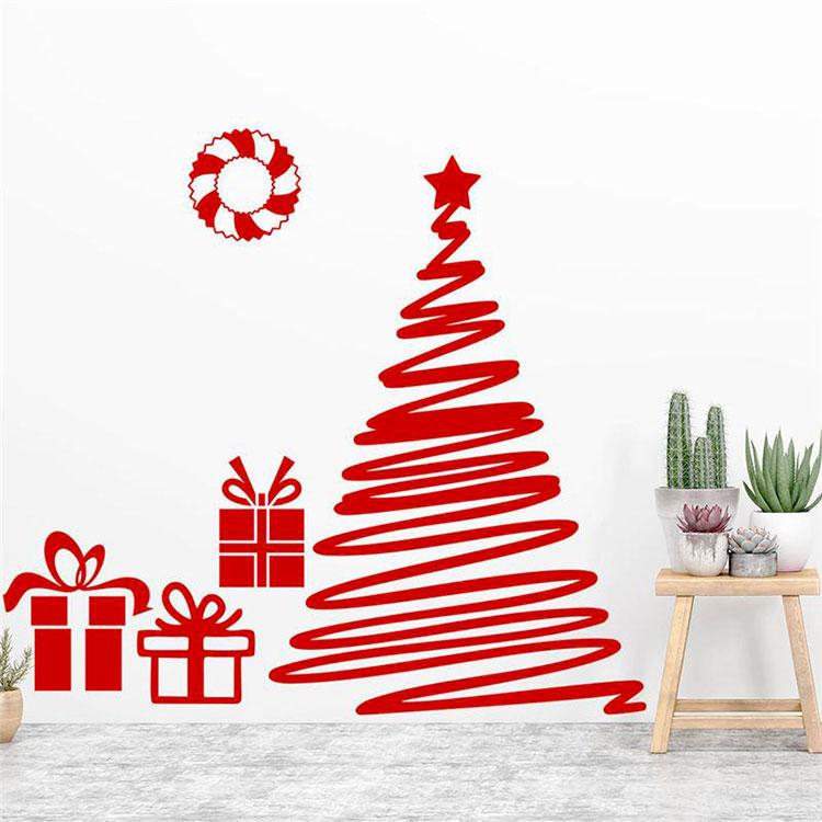 Modello di albero di Natale moderno adesivo n.02