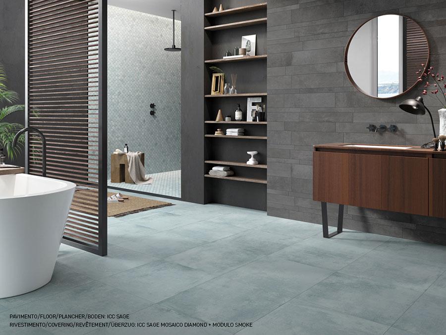 Bagno con piastrelle effetto cemento n.02