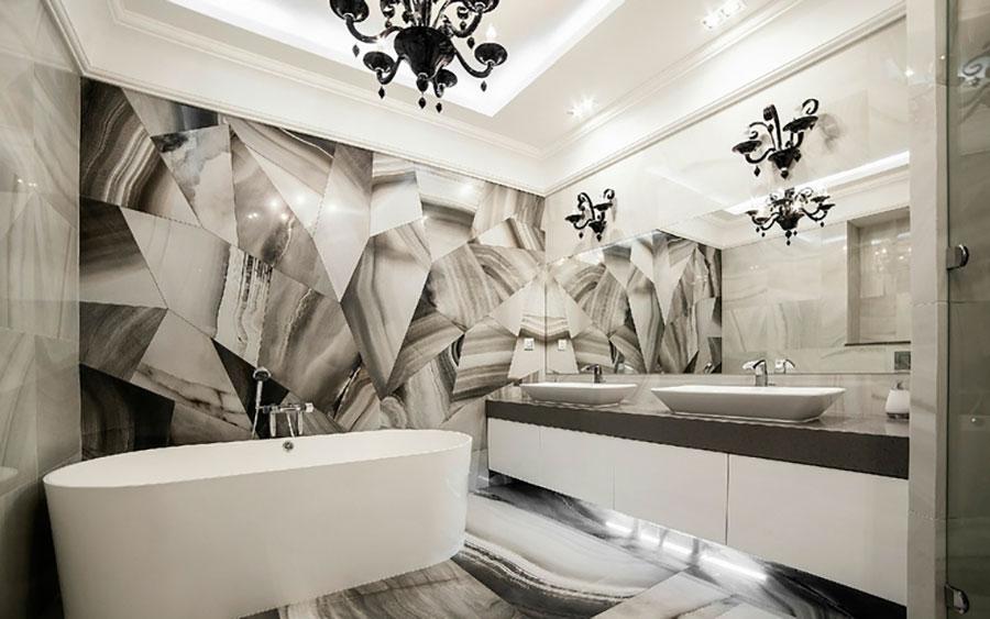 Bagno con rivestimenti in marmo particolare 03