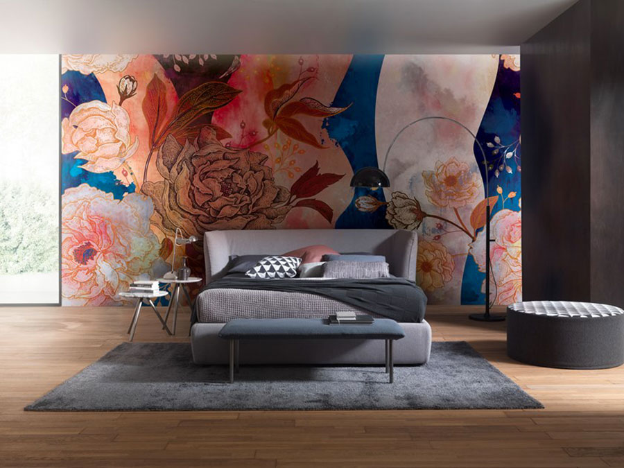 Modello di carta da parati floreale per camera da letto n.05