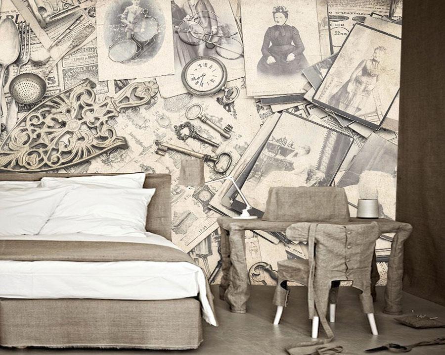 Modello di carta da parati vintage per camera da letto n.03