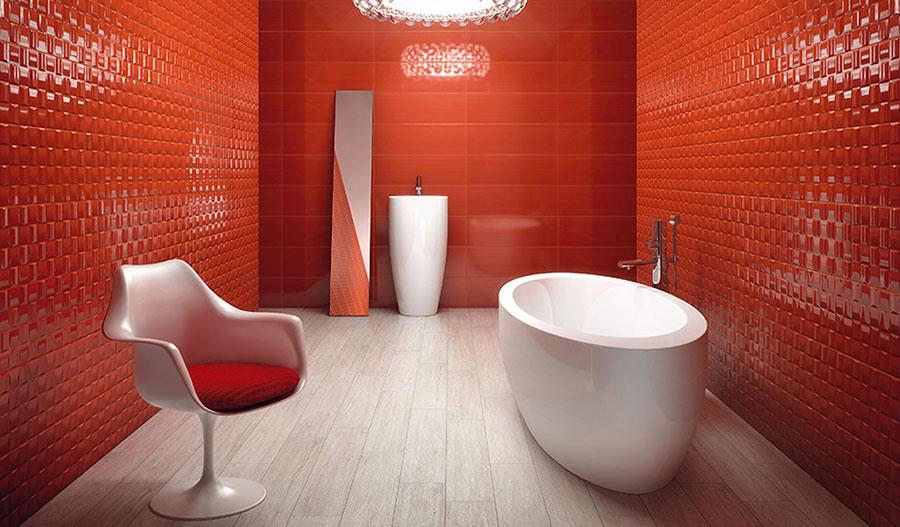 Pareti e rivestimenti per bagno rosso 04