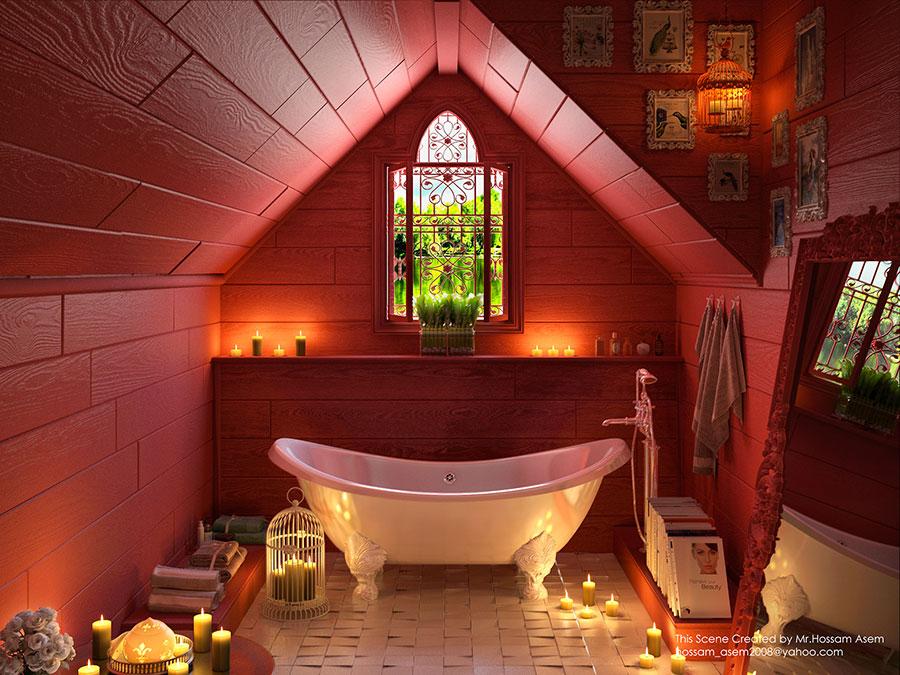 Pareti e rivestimenti per bagno rosso 06