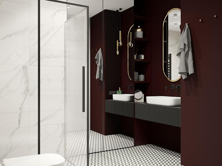 Idee per arredare un bagno rosso e bianco 02