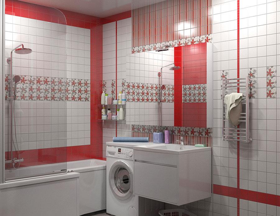 Idee per arredare un bagno rosso e bianco 03