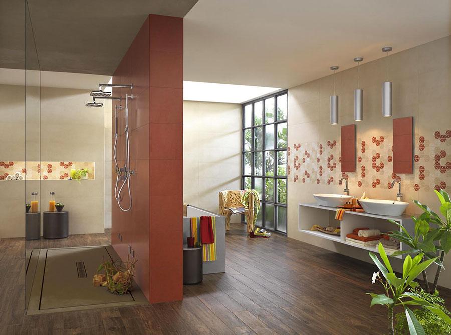Idee per arredare un bagno rosso e bianco 06
