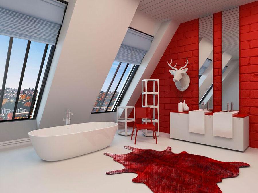 Idee per arredare un bagno rosso e bianco 09