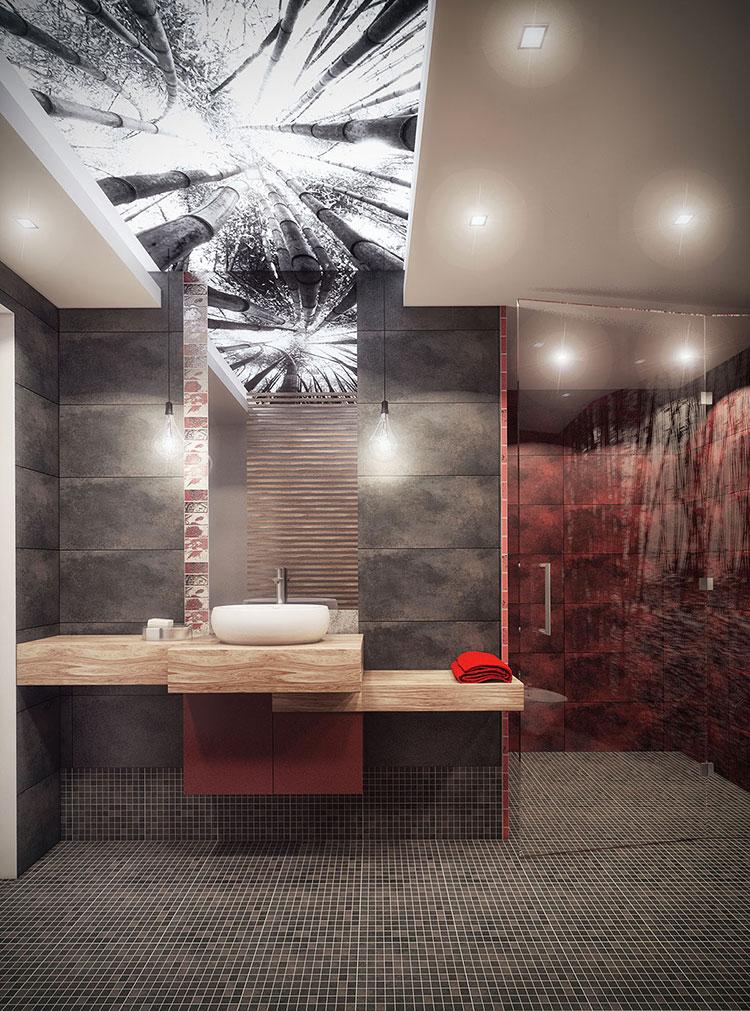 Idee per arredare un bagno rosso e grigio 01