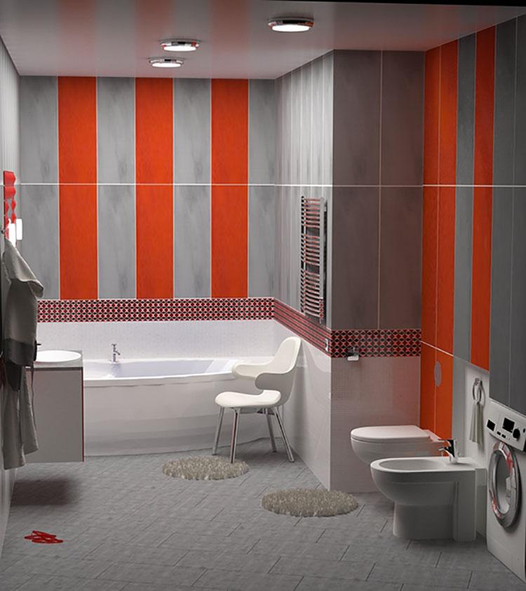 Idee per arredare un bagno rosso e grigio 02
