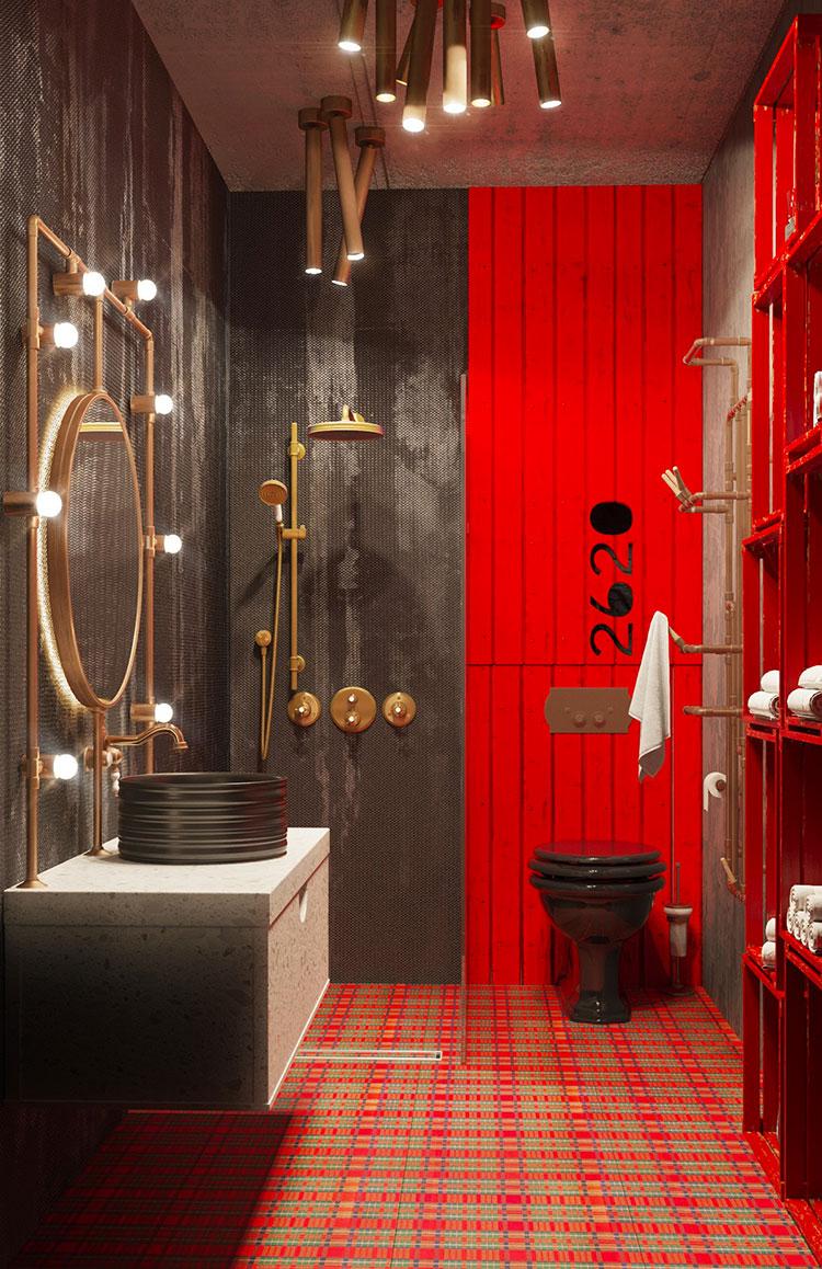 Idee per arredare un bagno rosso e grigio 03