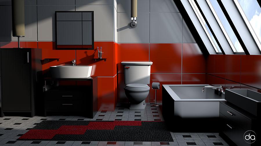 Idee per arredare un bagno rosso e grigio 04