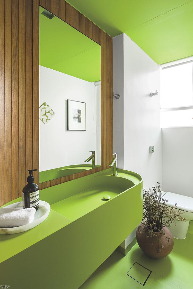 Idee per un bagno verde e bianco 1
