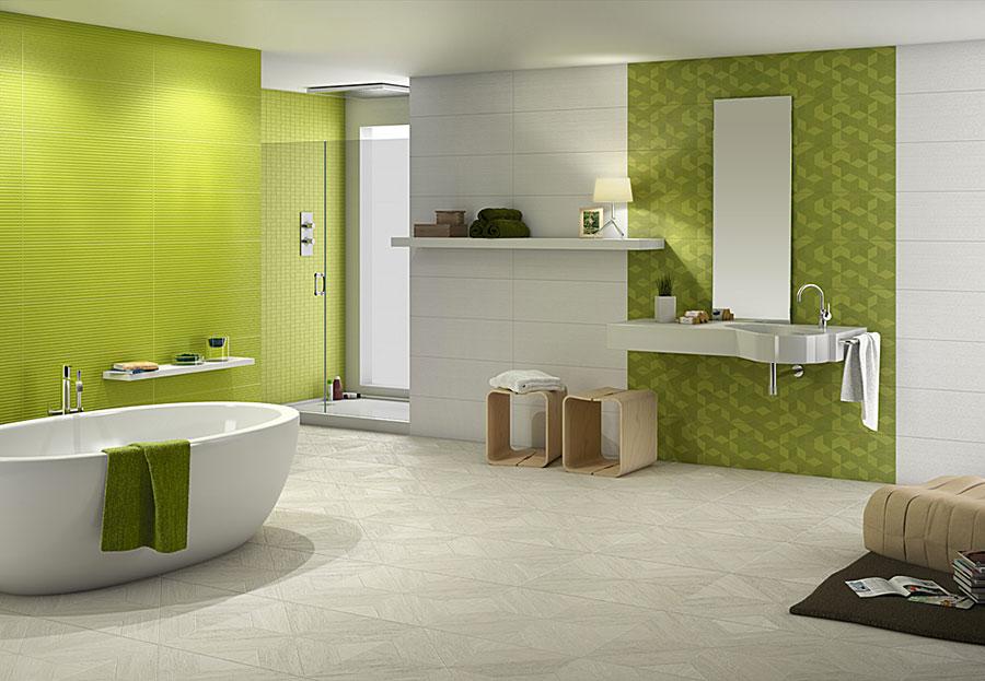 Idee per un bagno verde e bianco 3