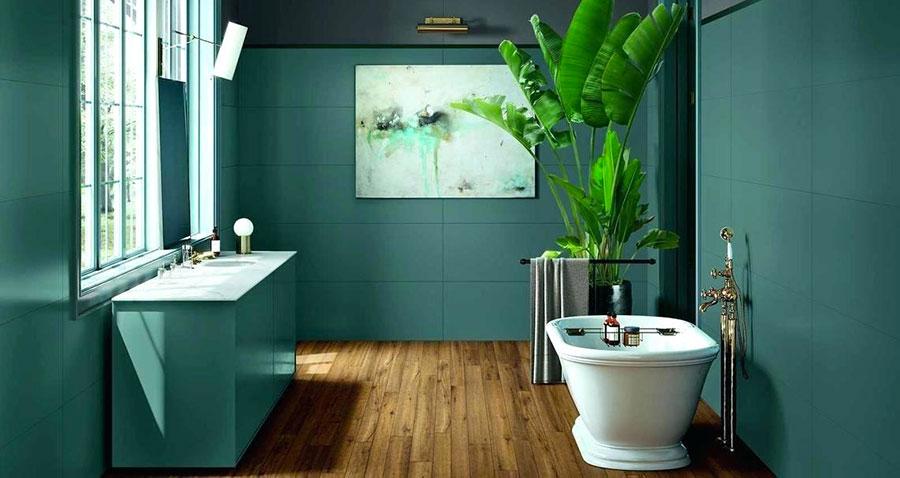 Idee per un bagno verde petrolio 1