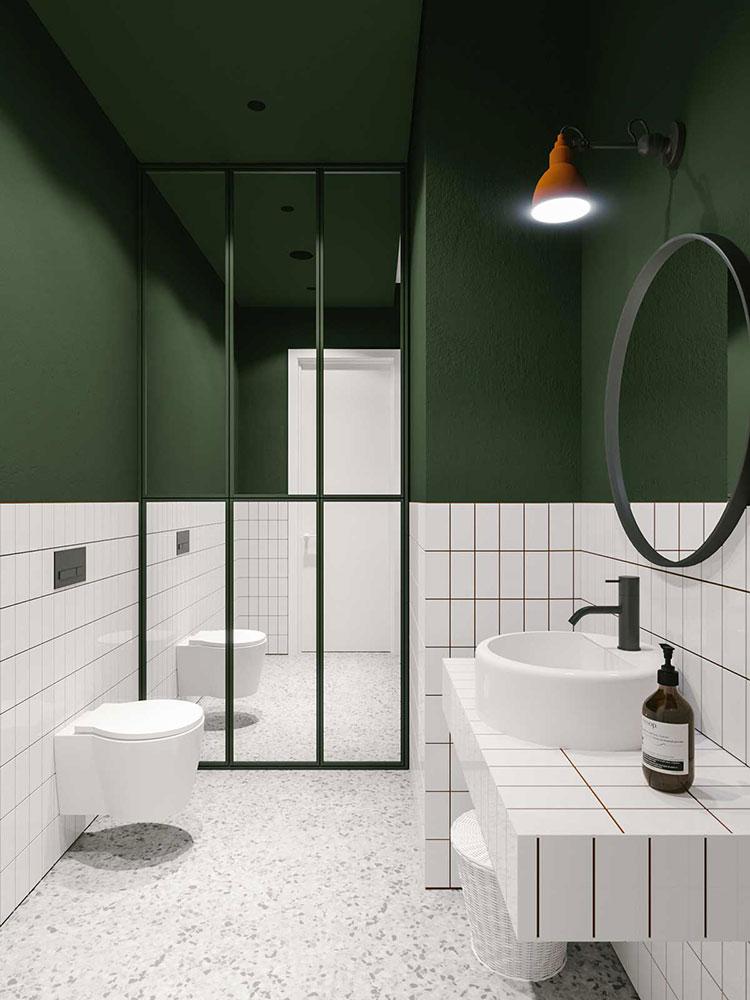 Idee per un bagno verde scuro 1