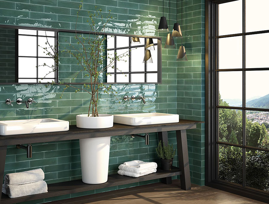 Idee per un bagno verde smeraldo 2
