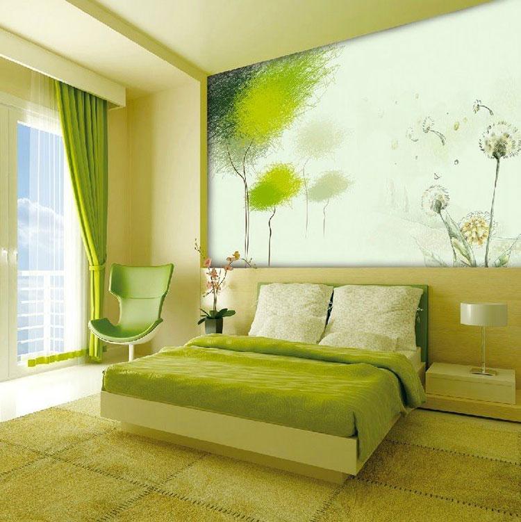 Idee per una camera da letto verde mela n.1