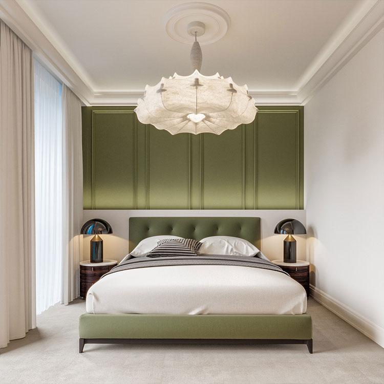 Idee per una camera da letto verde oliva n.1