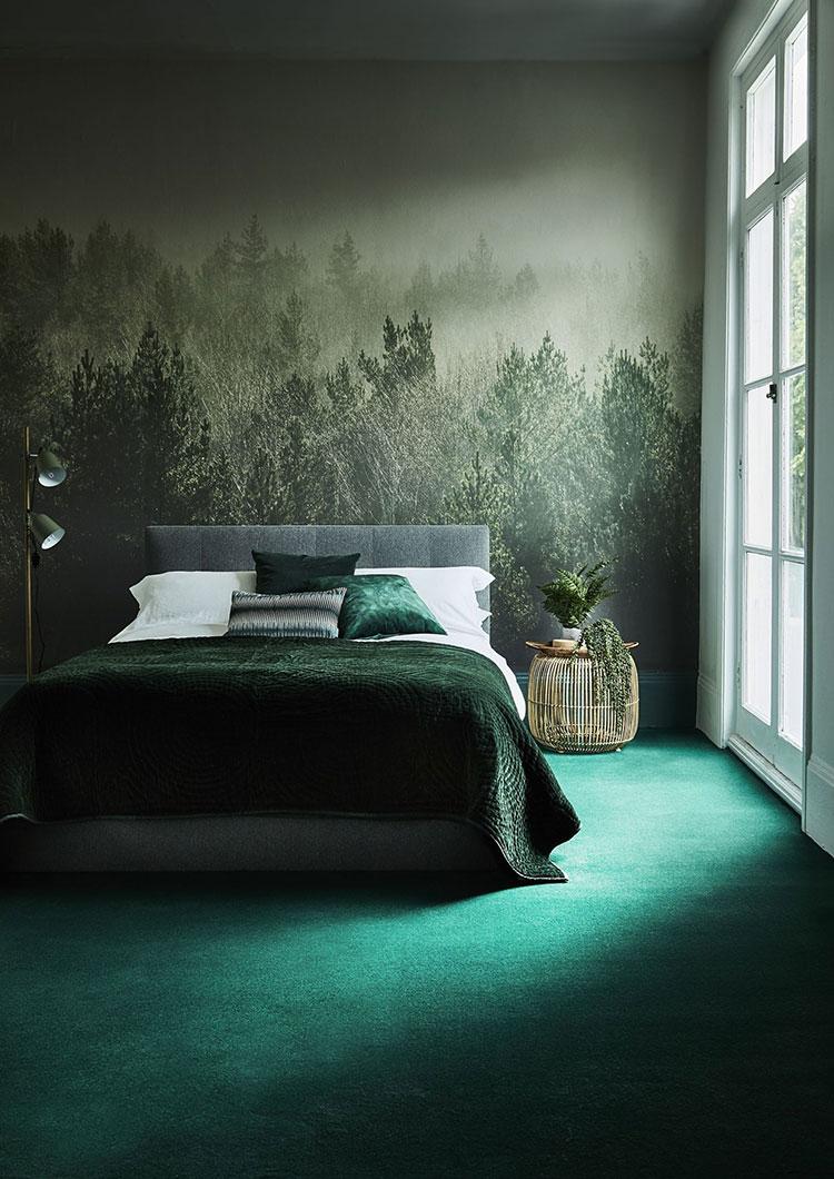 Idee per una camera da letto verde smeraldo n.2