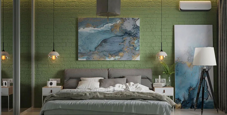 Idee camera da letto verde