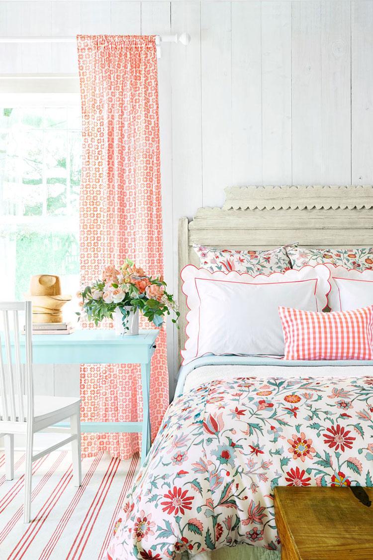 Tessuti per arredare una camera da letto country chic n.01