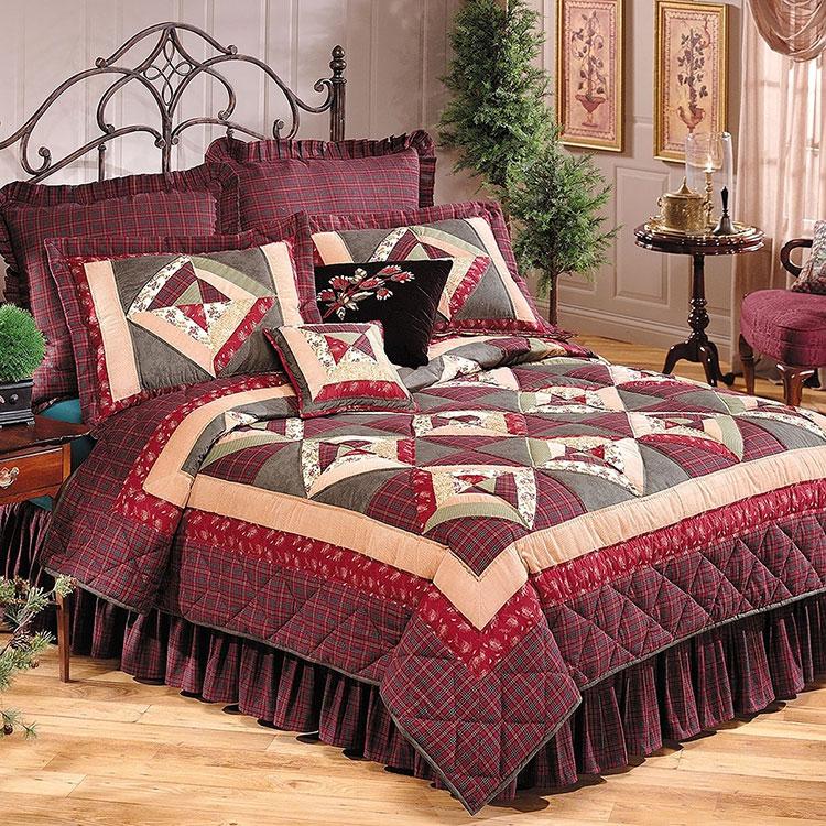 Tessuti patchwork per arredare una camera da letto country chic n.01