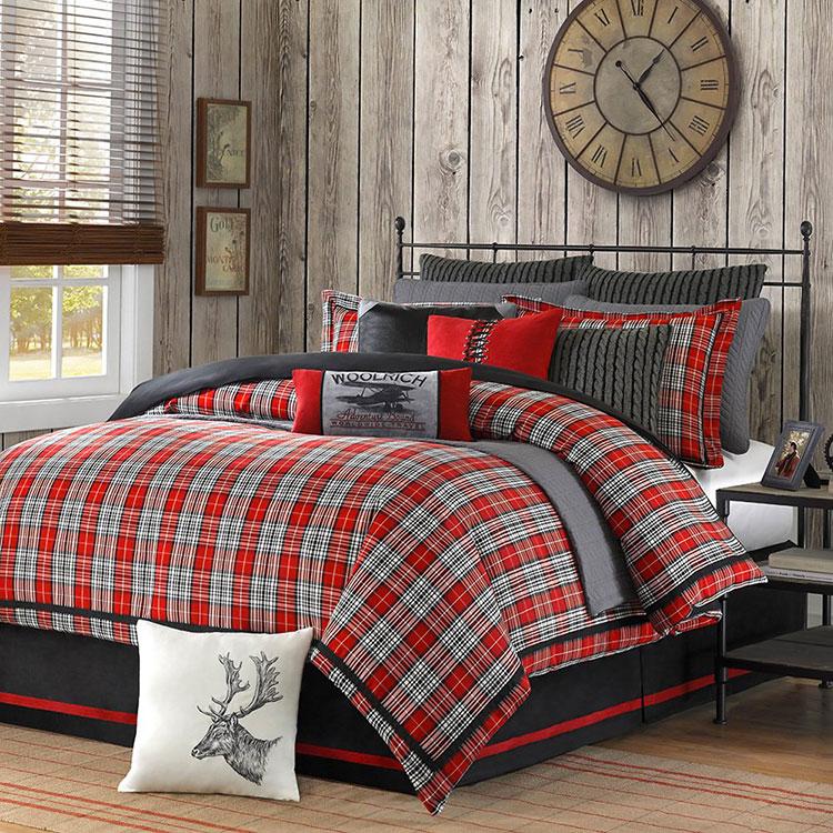 Tessuti tartan per arredare una camera da letto country chic n.01