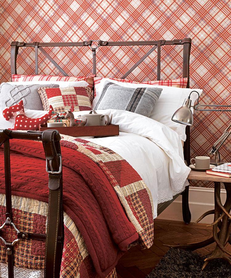 Tessuti tartan per arredare una camera da letto country chic n.02