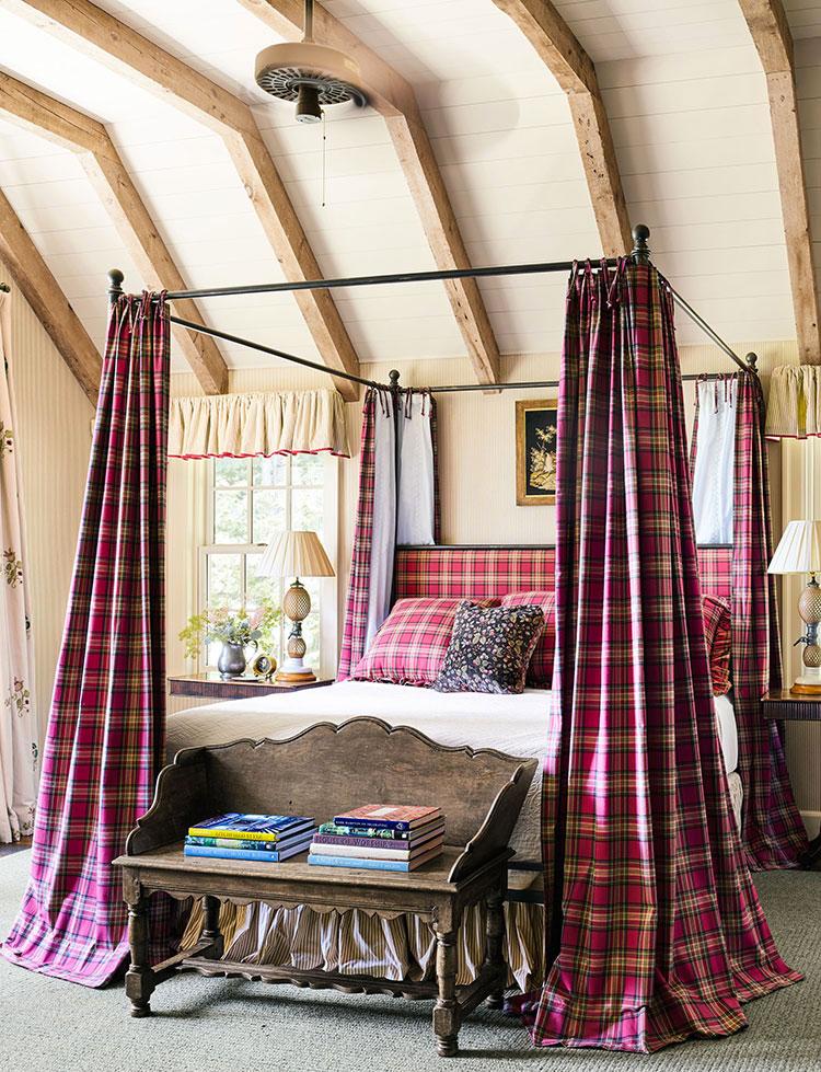 Tessuti tartan per arredare una camera da letto country chic n.03