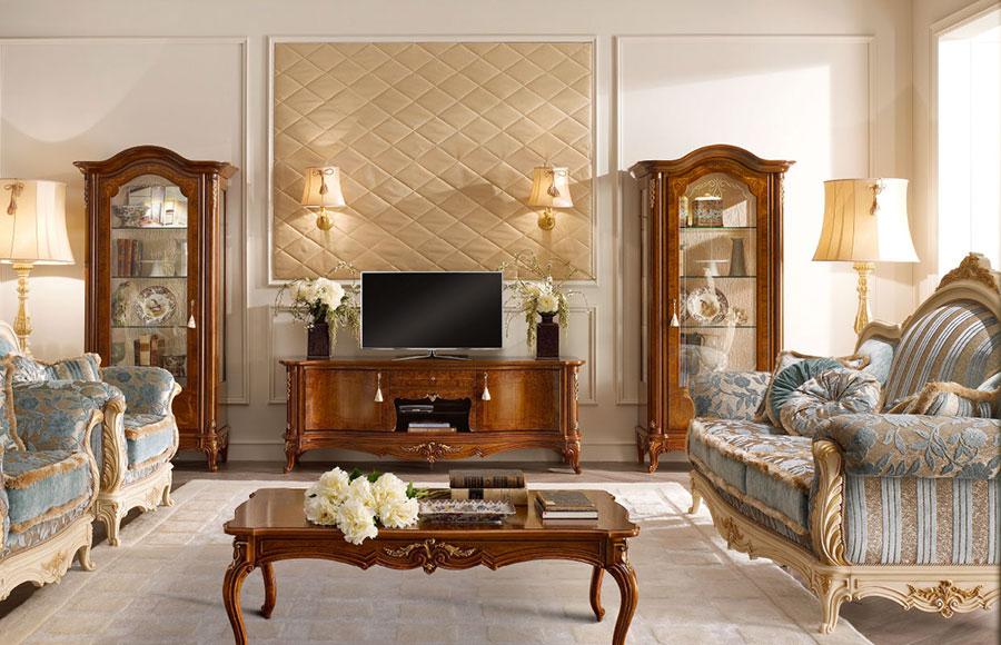 Colore beige per pareti di un soggiorno classico n.01