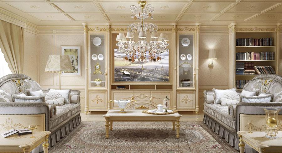 Colore beige per pareti di un soggiorno classico n.02