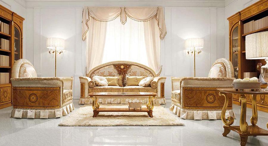 Colore bianco per pareti di un soggiorno classico n.01