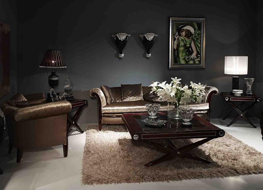 Colore nero per pareti di un soggiorno classico