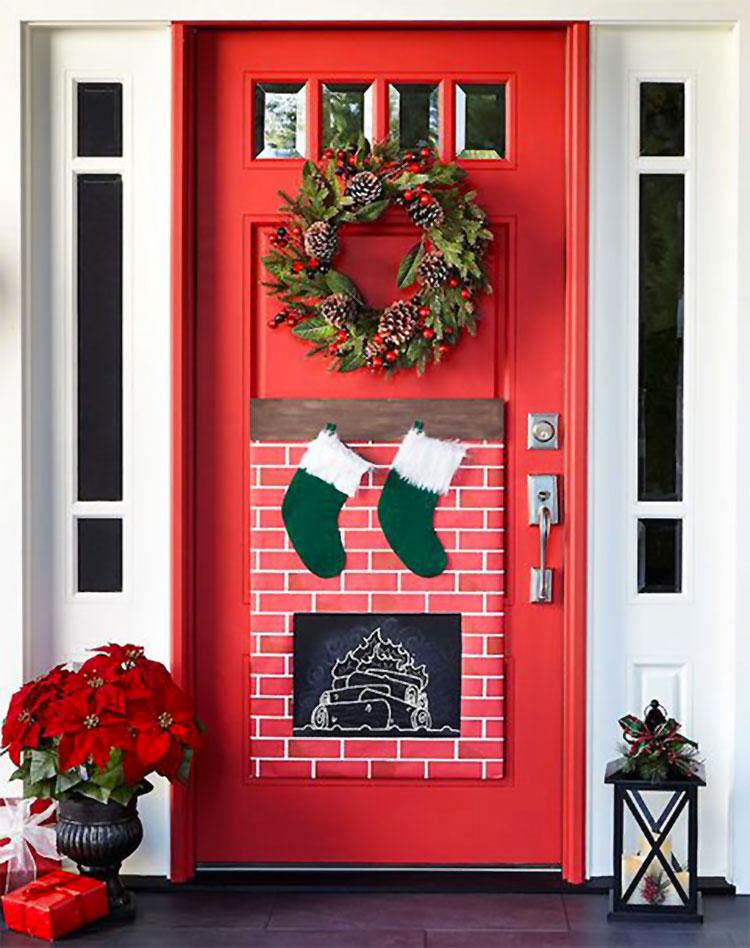 Idee per decorare una porta d'ingresso natalizia n.01