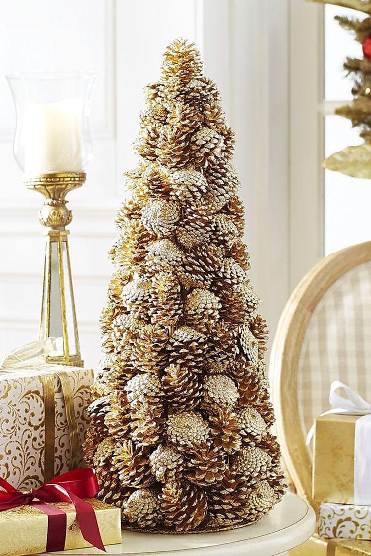 Idee per decorazioni natalizie con le pigne n.01
