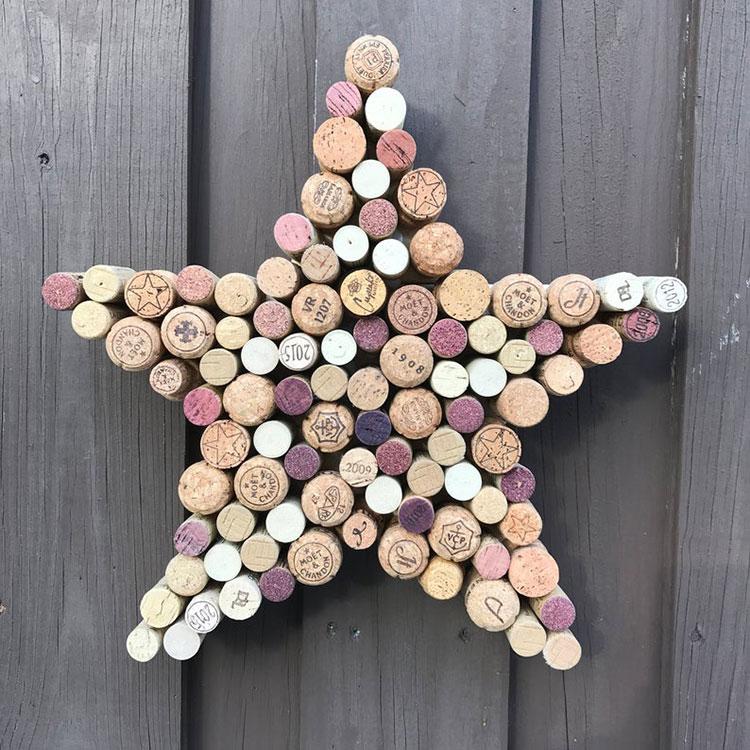 Idee per decorazioni natalizie con i tappi di sughero n.03