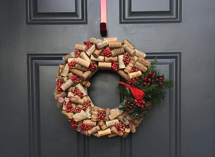 Idee per decorazioni natalizie con i tappi di sughero n.04